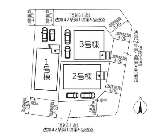 ◆Cradle garden 南区桧原第5 全3棟(2021年12月下旬完成予定)◆ - 区間図