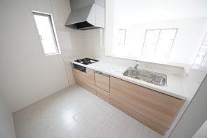対面キッチン、食器洗い乾燥機、浄水器一体型シャワー水栓付で使いやすい仕様に(同仕様)