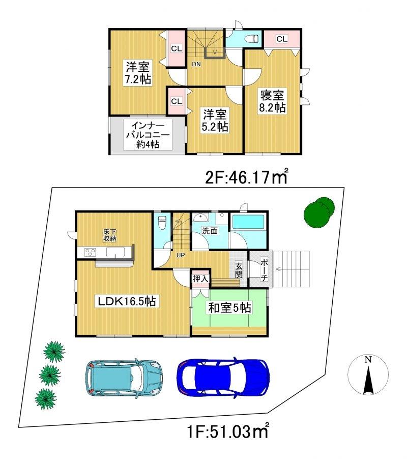 ◆Cradle garden 南区桧原第5 全3棟(2021年12月下旬完成予定)◆ 2号棟